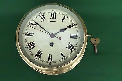 Antique Solid Brass Smiths Astral Ships Bulkhead Clock