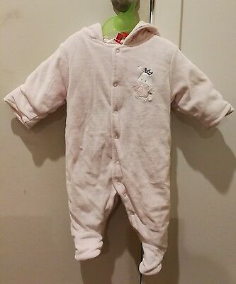 Ollies Place Girl Soft Padded Pink  Jumpsuit/onepiece/ Romper Bodysuit- Size 000
