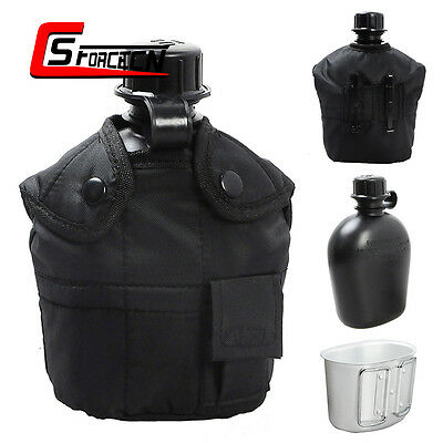 Military Army Water Bottle Aluminum Cup Canteen w/ Cover Pouch Camping Tactical