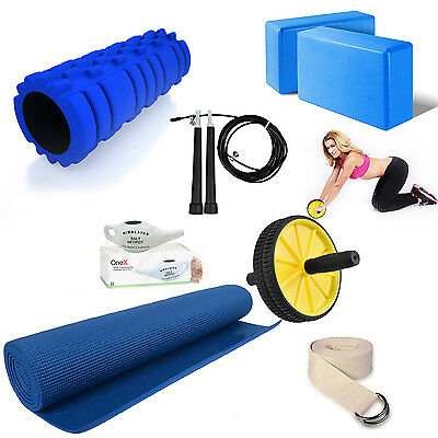 Yoga Kit Complete Accessories, Mat, Massage Roller, Strap,  Ab wheel Roller Pack
