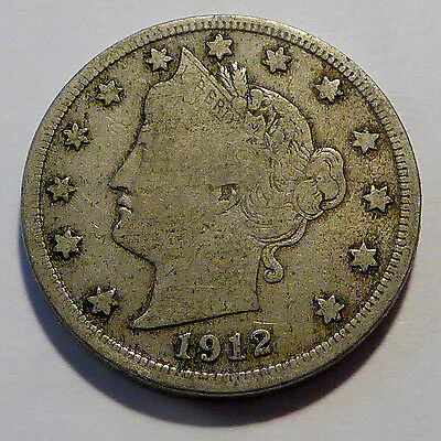 1912 S Liberty V Nickel, A Fine Coin, San Francisco Mint, FREE SHIPPING!
