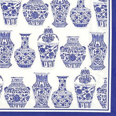BLUE AND WHITE URNS Vases chinese paper lunch napkins  20 in pack 33 cm sq