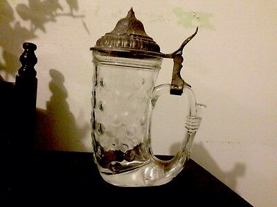 Antique Vintage German Beer Cup Mug. Collectable Glass Mug.
