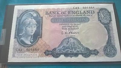 British Old five pound note in Uncirculated condition