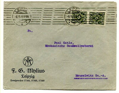 "Germany 1922 16pf. advertising cover ""F.G.Minlius"" from Leipzig, roller cancel"