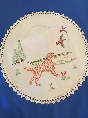 1 Vintage Dog , Ducks Design Embroidered Doilies / Doily