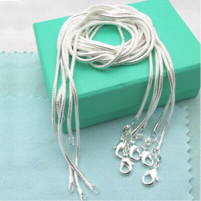 "Wholesale 5Pcs 1Mm Solid 925 Sterling Silver Jewelry Snake Chain 16""-30""necklace"