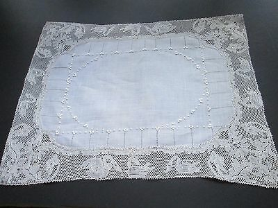 Antique  hand embroided runner with Flanders lace on linen-little swans/Belguim