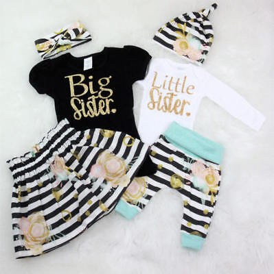 UKStock Newborn Baby Little Sister Big Sister T-shirt+Long Pants Clothes Outfits