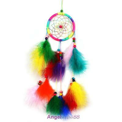 Colorfull Dream Catcher Feather Crafts Handmade Home Hanging Gifts