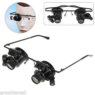 Professional 20X Watch Repair Magnifier Binocular Glasses Type with LED Light
