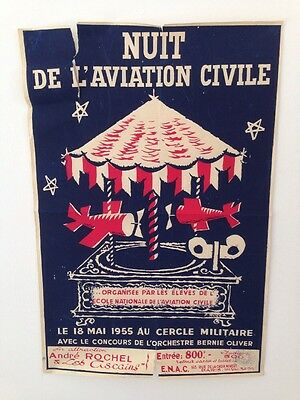 Affiche De Bal Nuit De L'aviation Civile 18 Mai 1955