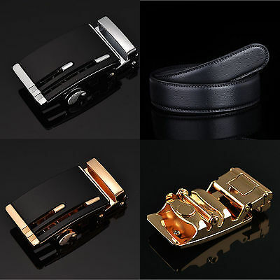 Fashion Men's Genuine Leather Hollow Automatic Buckle Waistband Waist Strap Belt