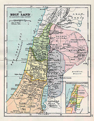 Map Of The Holy Land Bible History Antique Original Printed 1880s