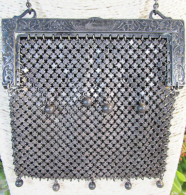 GERMAN SILVER EDWARDIAN ERA MESH PURSE** (holding for customer until 8/2/2017)**