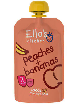 Organic+Vegan,Ella's Kitchen Stage 1,Peaches & Banana ( 21pack x 120g each)