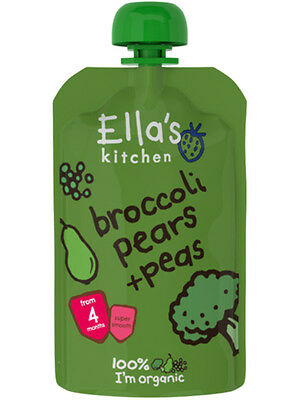 Organic+Vegan,Ella's Kitchen stage 1 Organic Broccoli,Pear & Pea ( 21 x 120g)