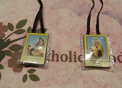 Brown Scapular in Soft Plastic  (H) Our Lady + St. Simon Stock