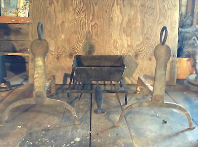 Antique Colonial American Andirons Cooking Grate Bread Baking 1700's Hearth Set
