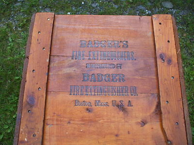 Vintage Wooden Shipping Box Badgers Fire Extinguishers Boston Ma.scarce 2 Find!!