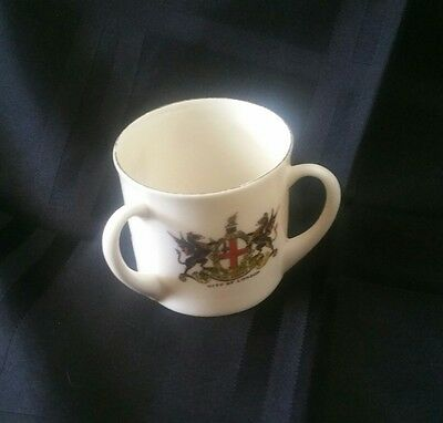 Vintage W&r Stoke On Trent 3 Handle Cup Carlton China *crests*