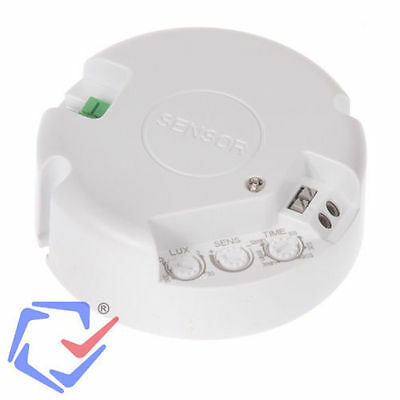 Microwave Motion Detector Ceiling 360 ° Presence Sensor 3-2000LUX Infrared White