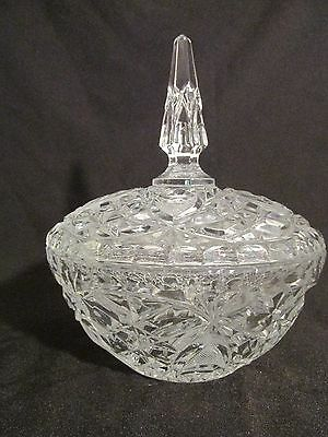 Vintage Clear Round Heavy Gorgeous Crystal Candy Dish With Final Lid