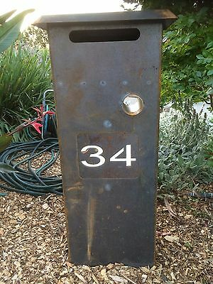 Letter Box Coreten steel Personalised with your number able to be solar lit