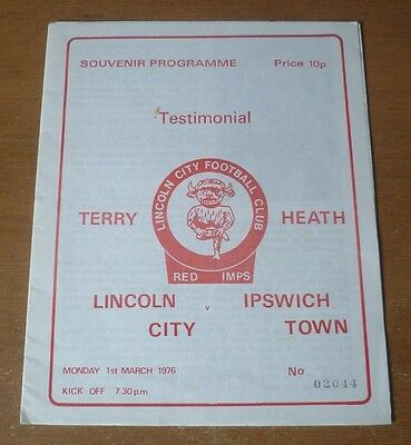 Lincoln City v Ipswich Town, 1975/76 - Terry Heath's Testimonial Programme.