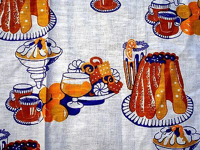 Vintage 60's 70's Sweets Parfait Pudding Cookie printed Fabric Novelty