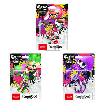 Nintendo amiibo Splatoon 2 Inkling Girl, Boy, and Squid set Switch Japan F/S