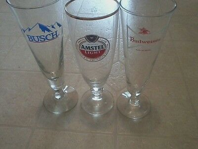 Vintage Lot of Three (3) Footed Pilsner Beer Glasses Busch Budweiser Amstel Rare