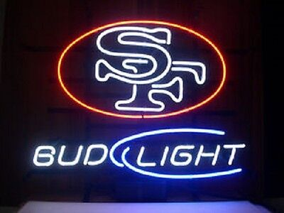 "New Bud light San Francisco 49ers NFL Beer Bar Neon Sign 17""x14"""
