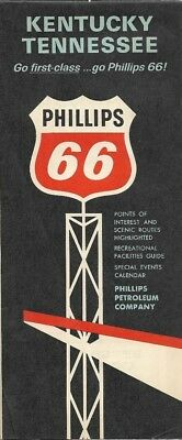 1965 PHILLIPS 66 Road Map KENTUCKY TENNESSEE Louisville Great Smoky Mountains