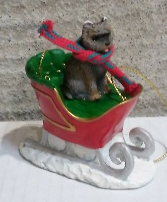 Victorian Trading Co Dog in Sleigh Christmas Ornament Cairn Terrier Brindle