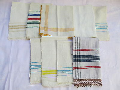 Old Primitive Antiques Hand Wooven Homespun Towels  - Lot Of 9
