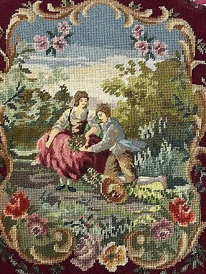 """Old Hand Made French Aubusson Design Tapestry Needle Point 17"""" By 17"""""""