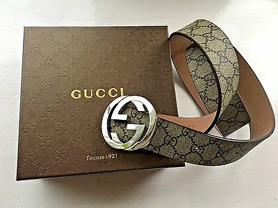 New Authentic Gucci Men's GG Supreme belt with G buckle Size 100cm waist 34-36