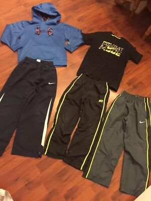 Boys Size 7/8 Lot Under Armour Nike Athletic Pants Hoodie Tee Fleece Lined