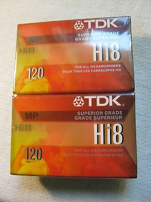 2 Pack New - Superior Grade TDK Hi8 MP 120 Video Tape Camcorder Cassettes