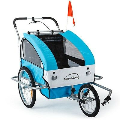 Blue, Green, Red & Yelloe Kids Bike Trailer & Jogger