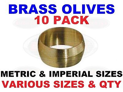 10x Brass Olive Barrel Plumbing Compression Quality Copper Pipe Gas Water Air