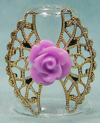 Glass thimble with silver filigree with Rose by Lotsa
