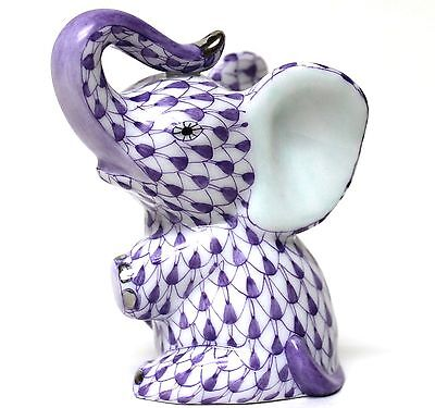 Herend Lavender Fishnet Young Elephant Sitting w/Platinum! Brand New in Box!