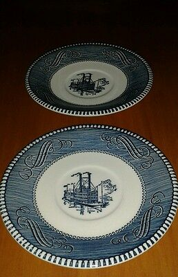 Royal Currier and Ives Saucer Pair Americana Paddle/Steam Boat Blu Minty Cute!!!