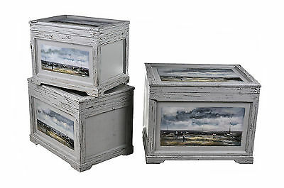Vintage Distressed Hand Painted River Design Wooden Storage Chest, Box, Trunk