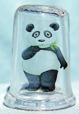 Panda Bear  on Glass Thimble by Lotsa