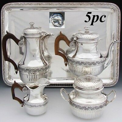 Antique French Sterling Silver 4pc Solitaire Coffee & Tea Pot Set, Tray: CROWNS