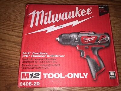 Milwaukee M12 12-Volt Lithium-Ion Cordless 3/8 in. Hammer Drill/Driver NEW!