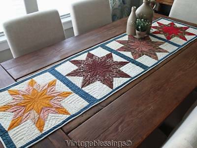 Long Antique Star Farm Table Quilt Runner 1880s Red White Blue Cheddar 63x16